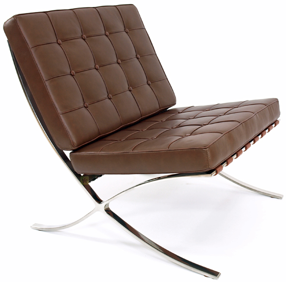 barcelona lounge chair brown leather mies van der rohe ebay. Black Bedroom Furniture Sets. Home Design Ideas