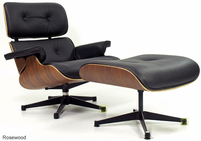 CHARLES EAMES LOUNGE CHAIR AND OTTOMAN IN BLACK LEATHER AND ROSEWOOD EBay