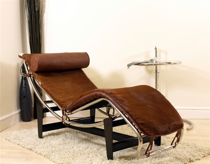 Le corbusier lc4 chaise longue recliner brown ponyhide for Chaise longue le corbusier ebay